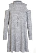 Quiz Grey Turtle Neck Cold Shoulder Tunic
