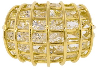 Verdura 18kt yellow gold rock crystal Caged ring
