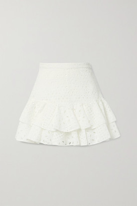 Charo Ruiz Ibiza Natalie Ruffled Broderie Anglaise Cotton-blend Mini Skirt - White
