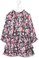 Velveteen floral print frill trim dress