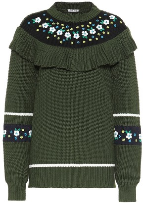 Miu Miu Ruffled virgin wool sweater