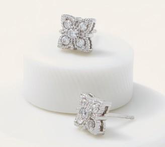 Diamonique Clover Earrings, Sterling Silver