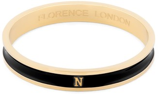 N. Florence London Initial Bangle 18Ct Gold Plated With Black Enamel