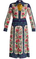 Gucci Rose-print crepe de Chine shirtdress