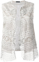 Cutuli Cult - embroidered knitted gilet - women - Cotton/Linen/Flax/Leather - S