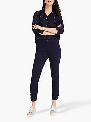 Phase Eight Ali Lace Hem Jeans, Lamp Blue