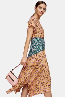 Topshop Womens Petite Mixed Floral Print Hanky Hem Midi Dress - Multi
