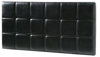 LYKE Home Upholstered Panel Headboard Upholstery: Black, Size: Twin
