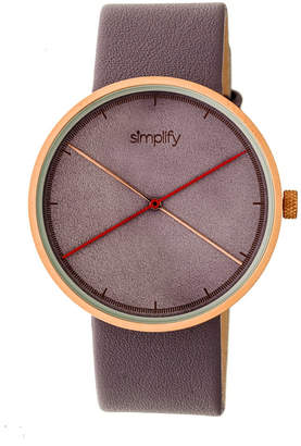 Simplify Quartz The 4100 Rose Gold Case, Genuine Purple Leather Watch 43mm