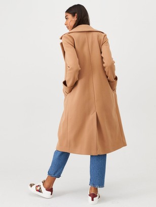 River Island Longline Turn Up Sleeve Coat-camel