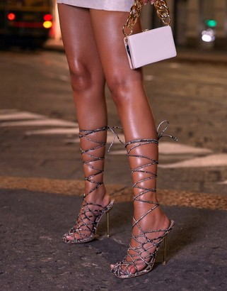 Ego x Molly-Mae Showoff wrap around heeled sandals in beige snake