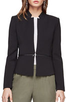 BCBGMAXAZRIA Faux Leather-Accented Notched Blazer