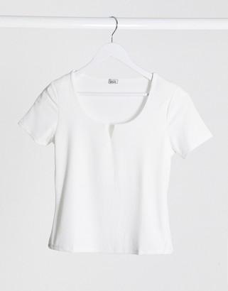 Pimkie notch neck t-shirt in white