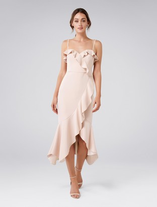 Forever New Louie Frill Wrap Asymmetrical Midi Dress - Cosmetic Nude - 4