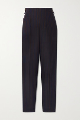 Akris Striped Wool Straight-leg Pants - Midnight blue