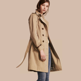 Burberry Leather Trim Cotton Gabardine Trench Coat , Size: 06, Yellow