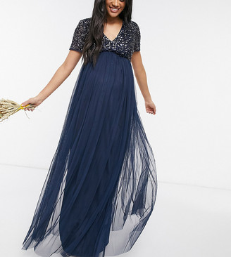 Maya Maternity Bridesmaid v-neck maxi tulle dress with tonal delicate sequin in navy