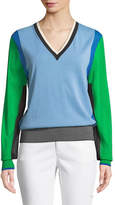 Diane von Furstenberg Long-Sleeve V-Neck Colorblock Pullover Sweater