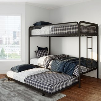 DHP Ezra Twin Metal Bunk Bed with Trundle, Multiple Colors