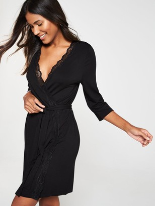 Very Jersey Lace Trim Robe - Black