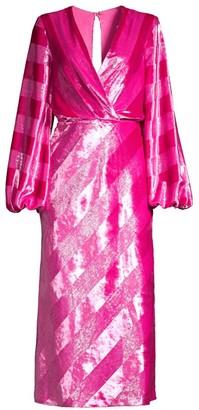 Rebecca Vallance Maison Metallic Plunge Midi Dress