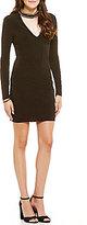Jodi Kristopher Beaded Choker V-Front Sheath Dress