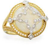 Jude Frances 18K Round Moonstone & Diamond Cocktail Ring