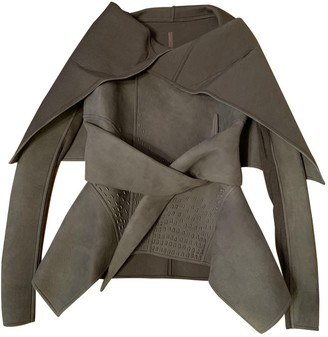Rick Owens Grey Leather Jacket for Women