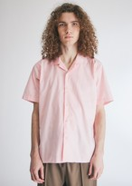 Gitman Brothers Men's Summer Hopsack SS Camp Shirt In Pink, Size Small | 100% Cotton