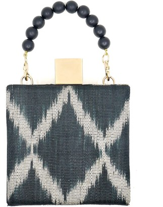 Soli & Sun The Meghan Black Handwoven Fabric Clutch Bag