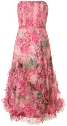 Marchesa Notte Floral Print Ruffled Trim Gown