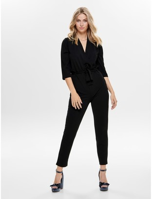 Jacqueline De Yong V-Neck Jumpsuit with 3/4 Length Sleeves
