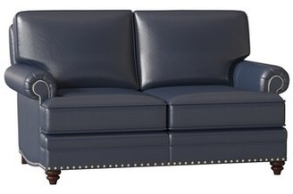 "Bradington-Young Carrado Genuine Leather 64.5"" Rolled Arm Loveseat Body Fabric: Outsider Atlantic, Leg Color: Mahogany, Nailhead Detail: Antique 7/16"