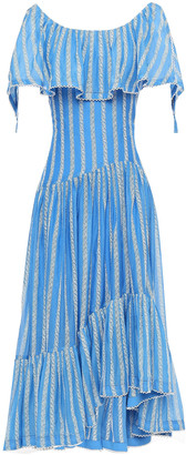 Tory Burch Layered Ruffled Embroidered Cotton And Silk-blend Midi Dress