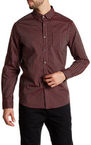 Kenneth Cole New York Collared Long Sleeve Plaid Woven Modern Fit Shirt
