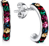 Unwritten Multi-Color Crystal Hoop Earrings in Sterling Silver
