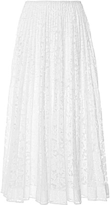 Valentino Sheer Pleated Lace Maxi Skirt