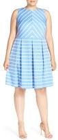 London Times 'Deauville' Stripe Knit Pleat Fit & Flare Dress (Plus Size)