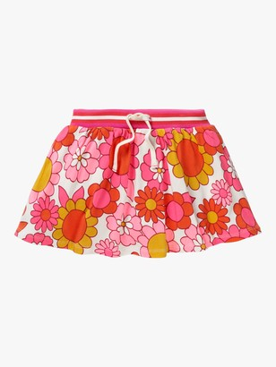Boden Girls' Retro Floral Jersey Skort, Pink/White