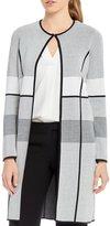 Calvin Klein Colorblock Pipe Trim Open-Front Long Cardigan