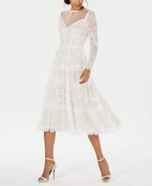 Tadashi Shoji Illusion Lace Midi Dress