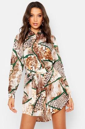 boohoo Tall Mixed Animal Print Shirt Dress
