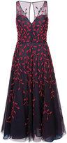 Oscar de la Renta leaf detail embroidered dress - women - Nylon/Polyester - 4