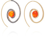 Noor Fares Spiral Moon Earrings in Yellow Gold with Carnelian & Diamonds