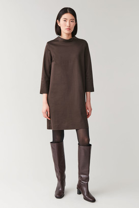 Cos Smooth Dress With Mock Neck