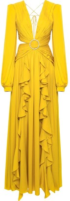 PatBO Embellished Buckle Cut-Out Gown