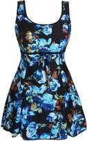 RAINSTAR Women's Plus Size One Piece Swimsuit Vintage Swimwear Tummy Control Swimdress
