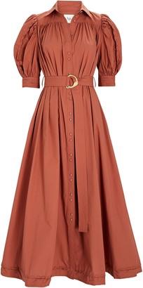 Aje Manifest Belted Cotton Midi Dress