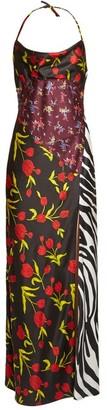 ATTICO Floral-print Halterneck Satin Dress - Black Multi
