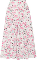 Emilia Wickstead Eleanor Floral-print Cloqué Midi Skirt - White